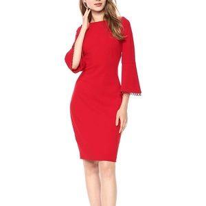 Calvin Klein Red 3/4 Bell Sleeve Sheath Dress